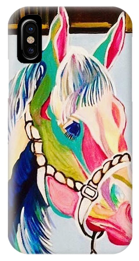 Horse IPhone X Case featuring the painting The Pink Horse by Essam Iskander