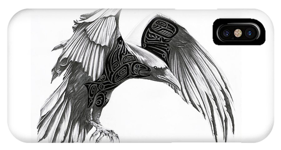 Raven IPhone X Case featuring the drawing The Raven by Terry Thomson