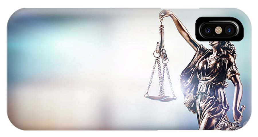 Justice IPhone X Case featuring the photograph Themis, Symbol Of Law On Modern Background. by Michal Bednarek