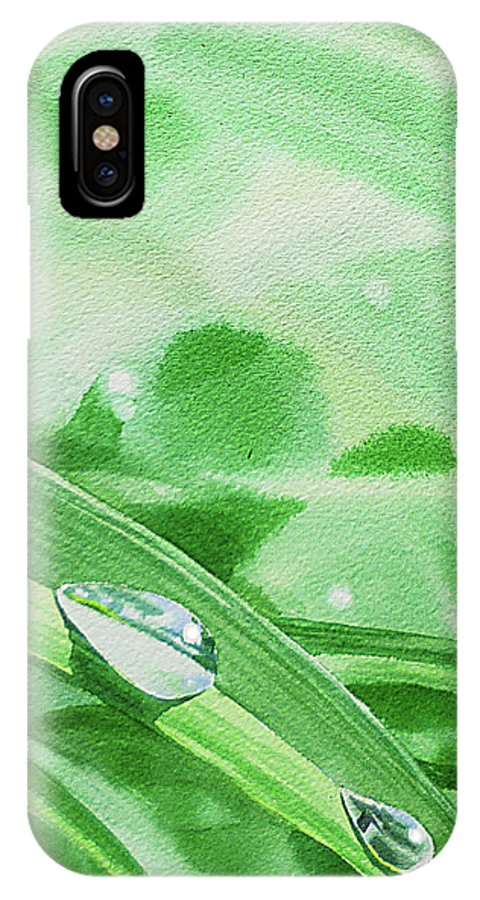 Green IPhone X Case featuring the painting Three Dew Drops Realism In Watercolor by Irina Sztukowski