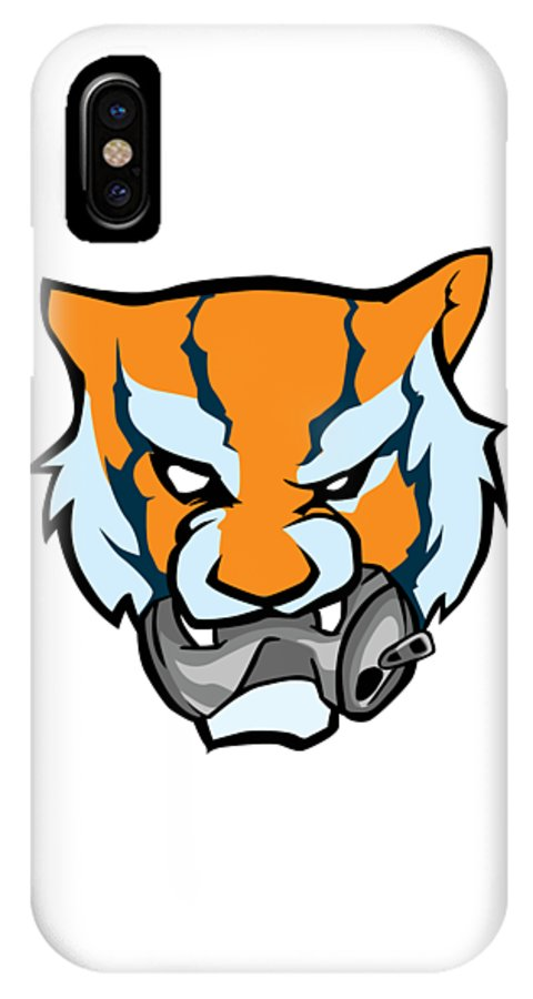 Tiger IPhone X Case featuring the digital art Tiger Head Bitting Beer Can Orange by The French Seller