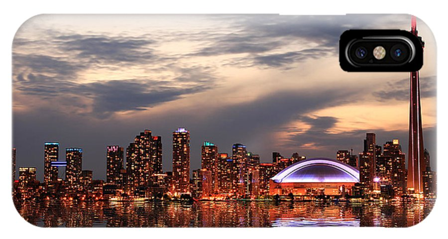 Office IPhone X Case featuring the photograph Toronto Skyline At Sunset, Ontario by Inga Locmele