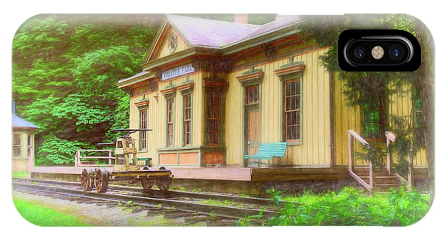 Train IPhone X Case featuring the photograph Train Depot With Hand Car by Tom Mc Nemar