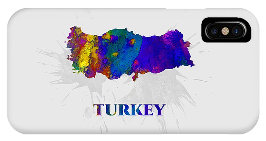 Turkey IPhone X Case featuring the mixed media Turkey, Map, Artist Singh by Artist Singh MAPS