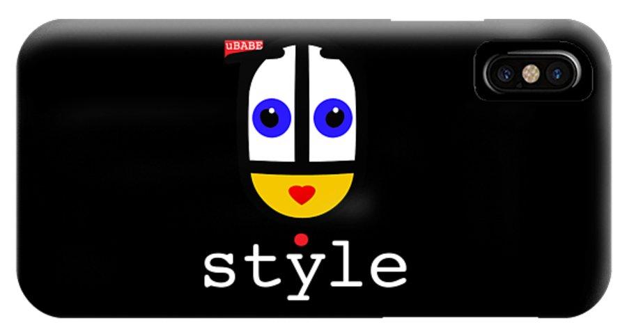 Ubabe Black Url IPhone X Case featuring the digital art Ubabe Dot Style by Ubabe Style