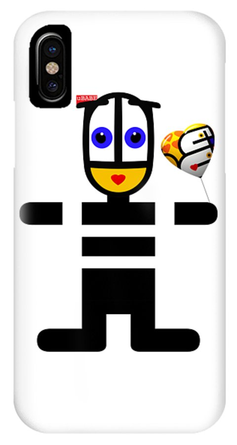 Ubabe Love Balloon IPhone X Case featuring the digital art uBABE Love Balloon by Charles Stuart