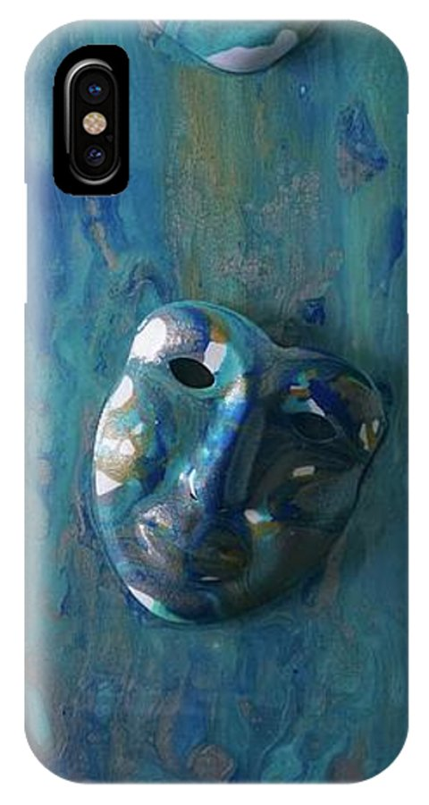 IPhone X Case featuring the painting Shades Of Blue Sold by IRMA Bijdemast