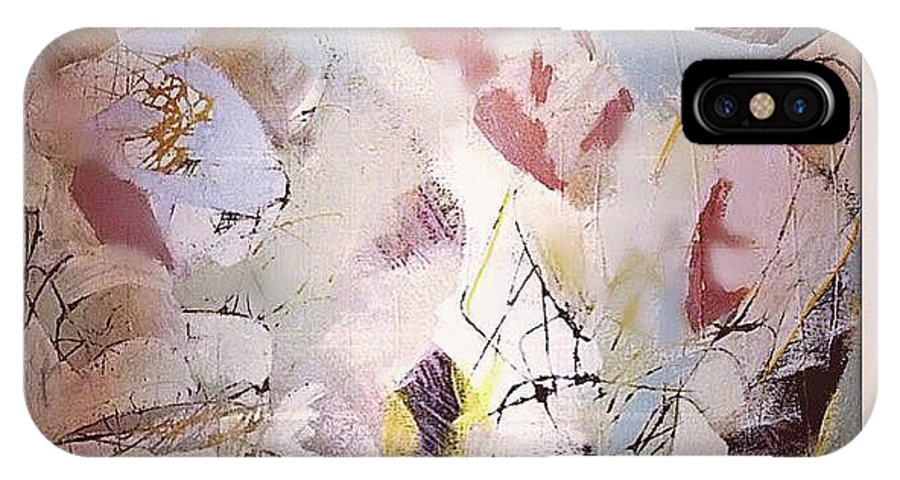 Snow Abstract Fireplace IPhone X Case featuring the painting Upstate by Indira Marin Dingledine