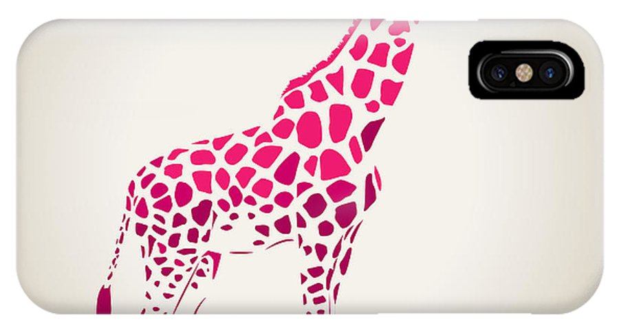 Fur IPhone X Case featuring the digital art Vector Giraffe Silhouette, Abstract by Oxanaart