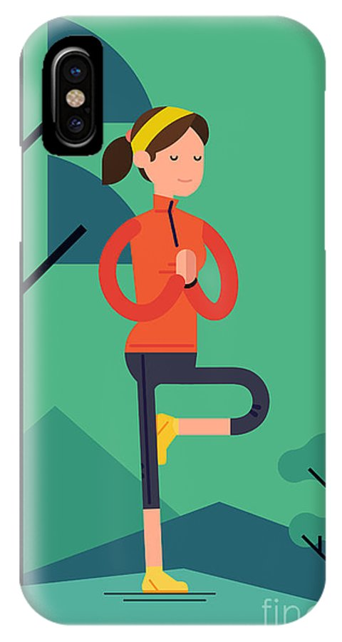 Mountains IPhone X Case featuring the digital art Vector Sport Young Woman Character by Mascha Tace
