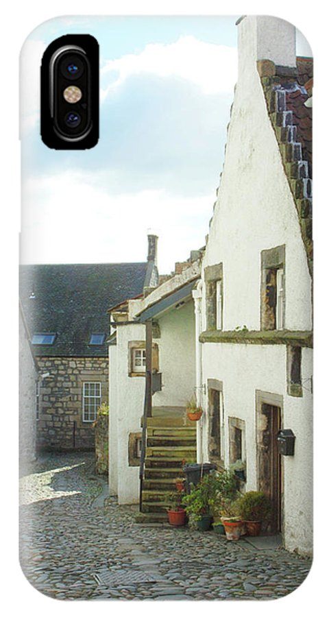 Cobbles IPhone X Case featuring the photograph village cobbled lane in Culross by Victor Lord Denovan