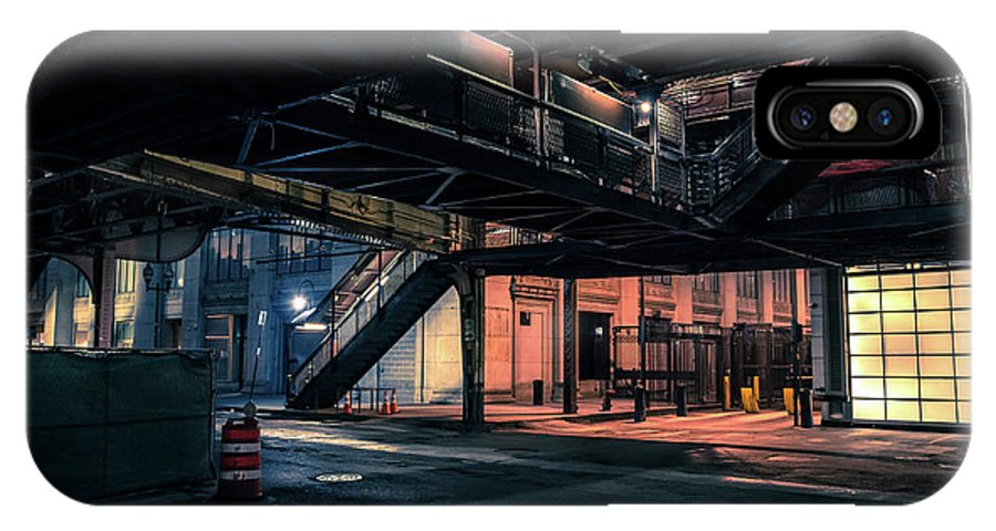 Bridge IPhone X Case featuring the photograph Vintage Chicago L Station At Night by Bruno Passigatti