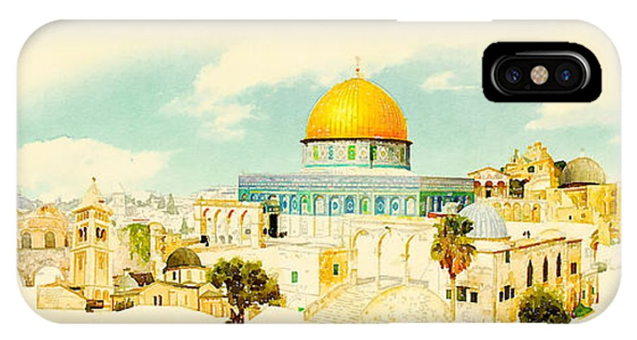Gouache IPhone X Case featuring the digital art Water Color Panoramic Jerusalem by Trentemoller