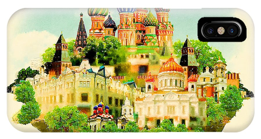Symbol IPhone X Case featuring the digital art Watercolor Illustration Moscow Scene by Trentemoller