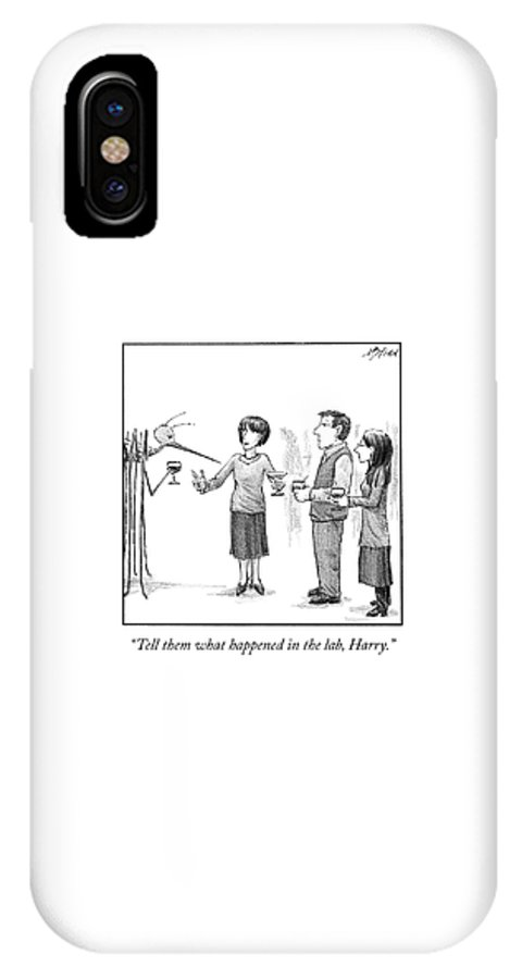 Cctk IPhone X Case featuring the drawing What Happened in the Lab by Harry Bliss