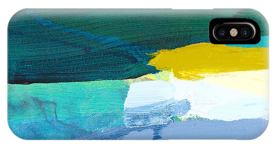 Abstract IPhone X Case featuring the painting When Winter Melts Away by Claire Desjardins