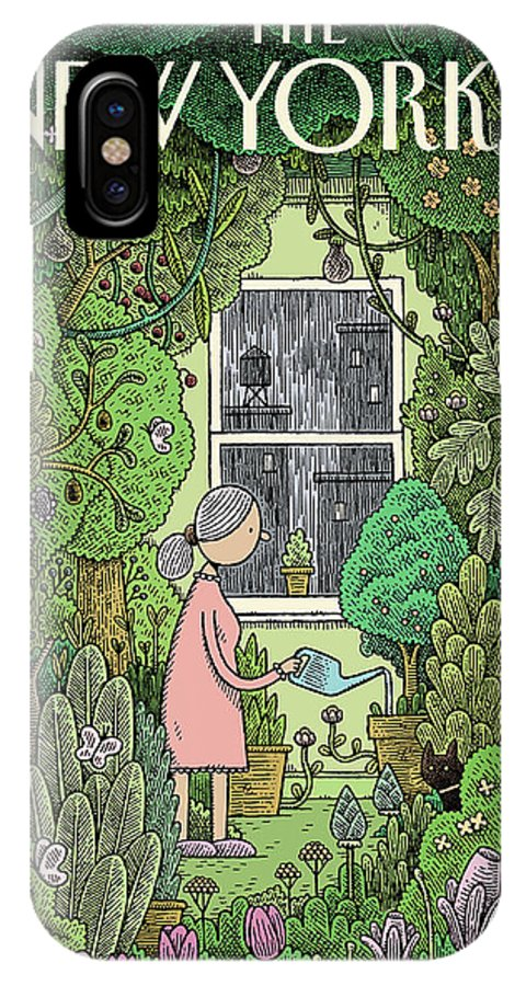 Winter Garden IPhone X Case featuring the painting Winter Garden by Tom Gauld