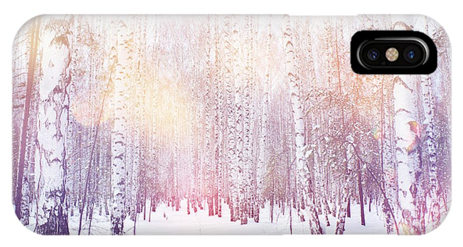 Magic IPhone X Case featuring the photograph Winter Magic Birch Grove by Ataly
