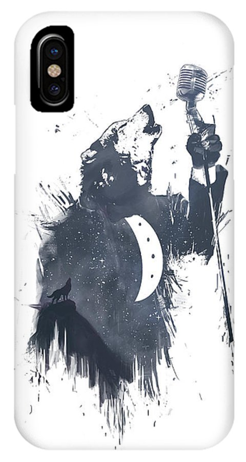 Wolf IPhone X Case featuring the mixed media Wolf Song by Balazs Solti