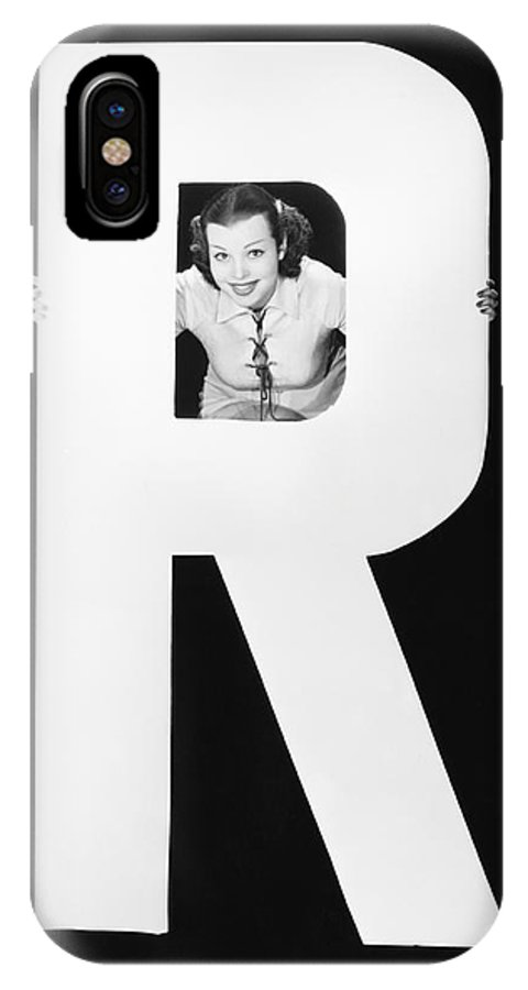Testimonial IPhone X Case featuring the photograph Woman With Huge Letter R by Everett Collection