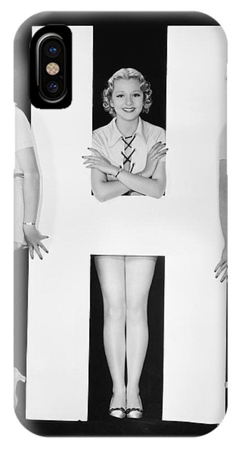 Big IPhone X Case featuring the photograph Women Posing With Huge Letter H by Everett Collection