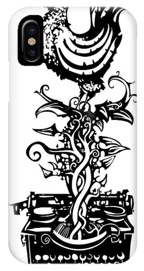 Newspaper IPhone X Case featuring the digital art Woodcut Rooster Crowing Emerging From A by Jef Thompson