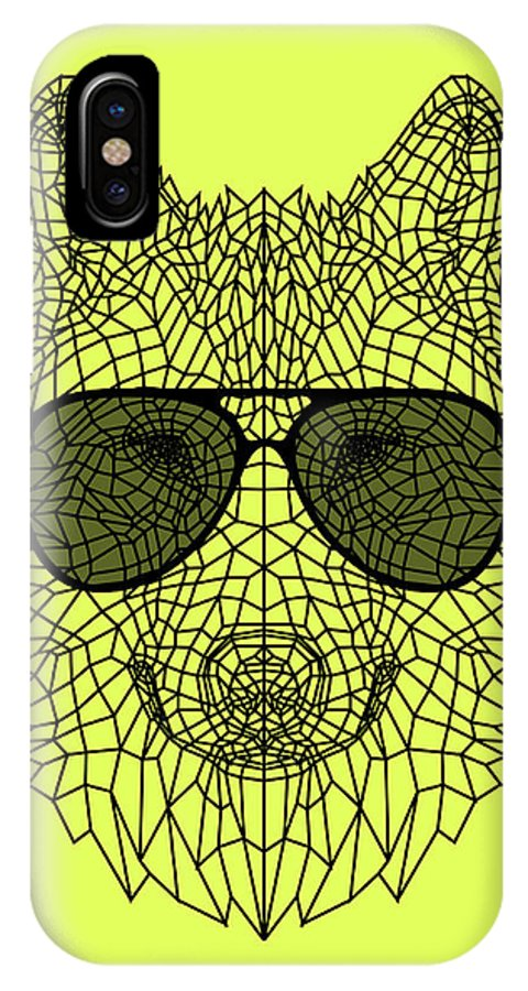 Wolf IPhone X Case featuring the digital art Woolf In Black Glasses by Naxart Studio