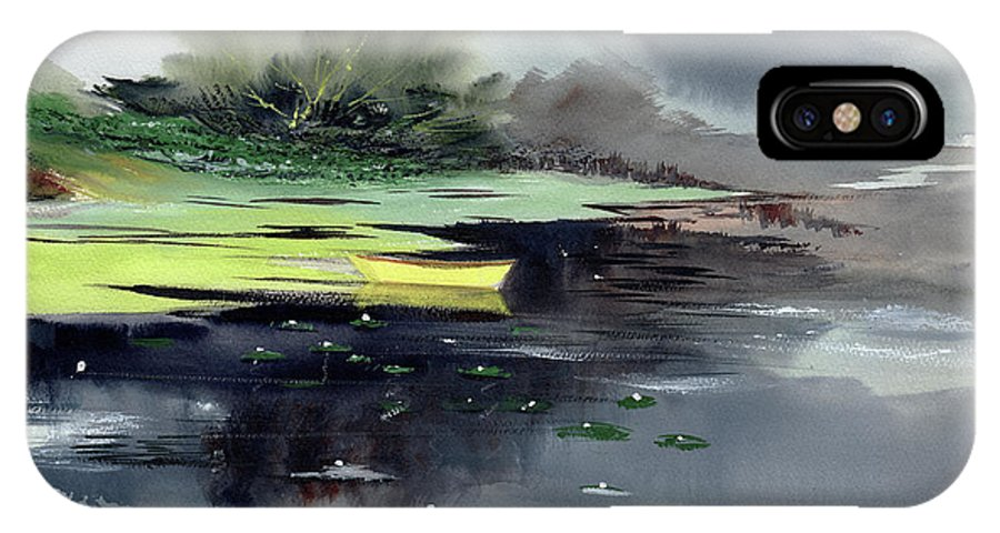 Nature IPhone X Case featuring the painting Yellow Boat by Anil Nene