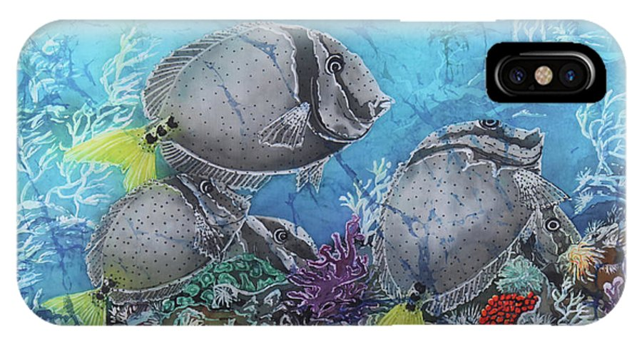 Yellowtail Surgeonfish IPhone X Case featuring the painting Yellowtail Surgeonfish by Sue Duda