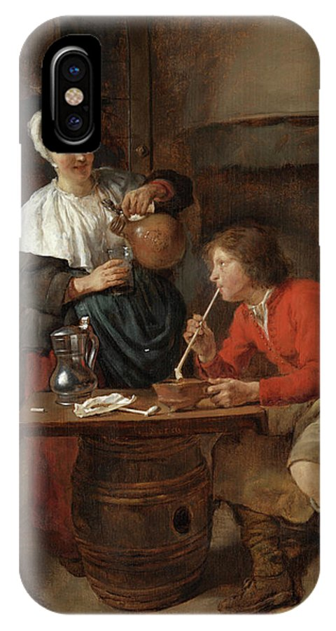 Gabriel Metsu IPhone X Case featuring the painting Young Man Smoking And A Woman Pouring Beer by Gabriel Metsu