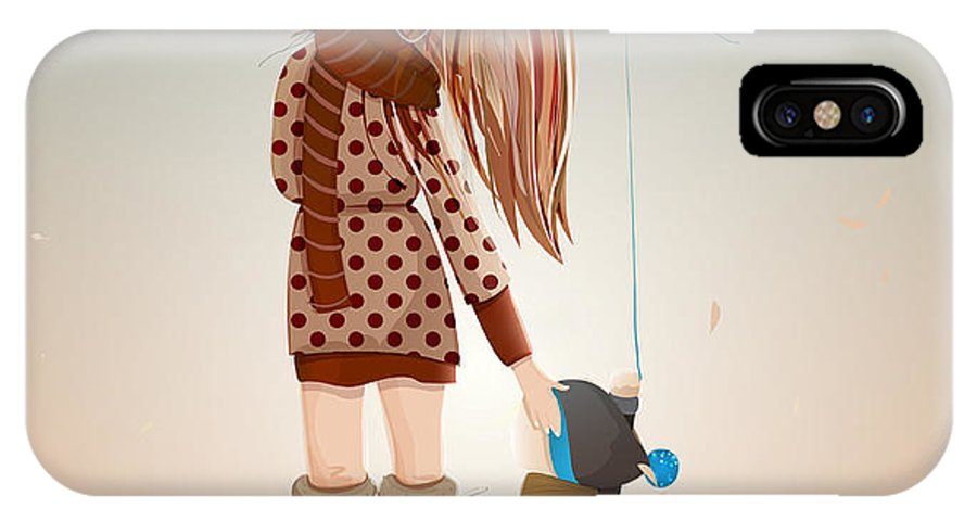 Love IPhone X Case featuring the digital art Young Mother With A Child Walking by Popmarleo