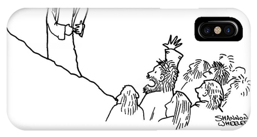"""""""where Do You Get Your Ideas."""" Religion IPhone X Case featuring the drawing Your Ideas by Shannon Wheeler"""