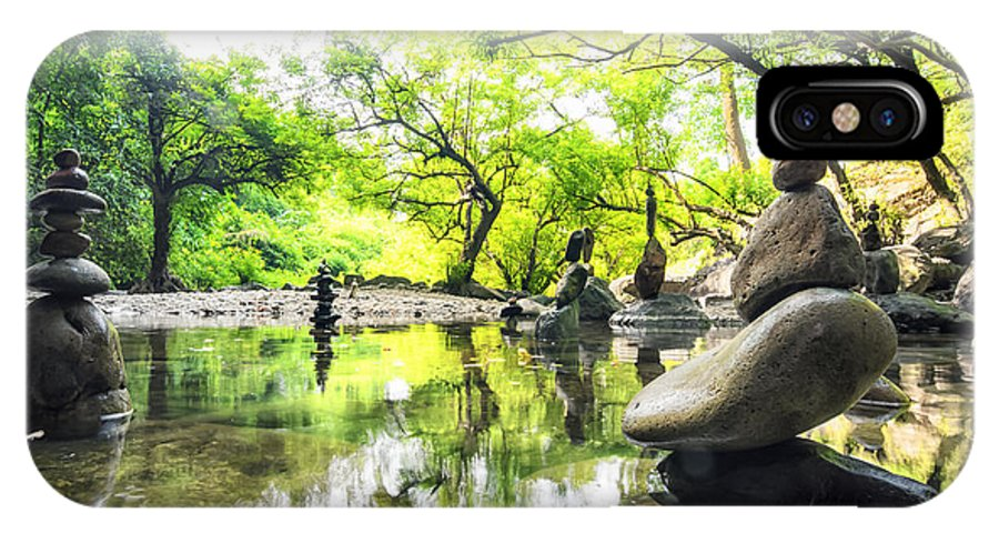 Harmony IPhone X Case featuring the photograph Zen Pond In Forest. Photography Of by Banana Republic Images