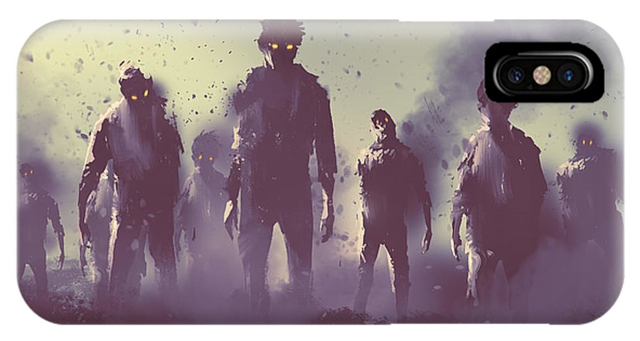 Death IPhone X Case featuring the digital art Zombie Crowd Walking At Night,halloween by Tithi Luadthong