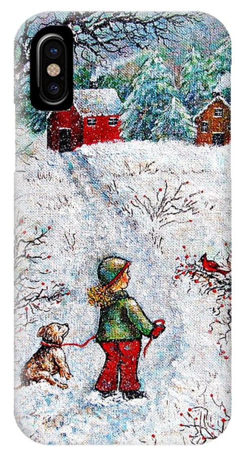 Winter IPhone X Case featuring the painting Pleasant Meeting by Natalie Holland