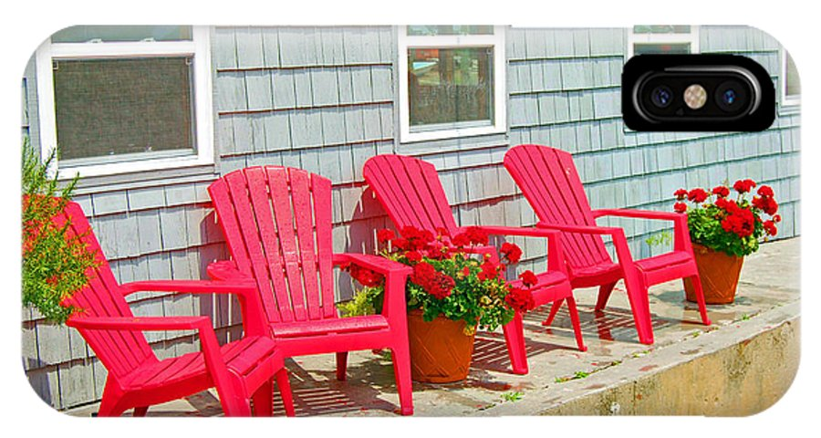 Red IPhone X Case featuring the photograph Red Chairs by Debbi Granruth