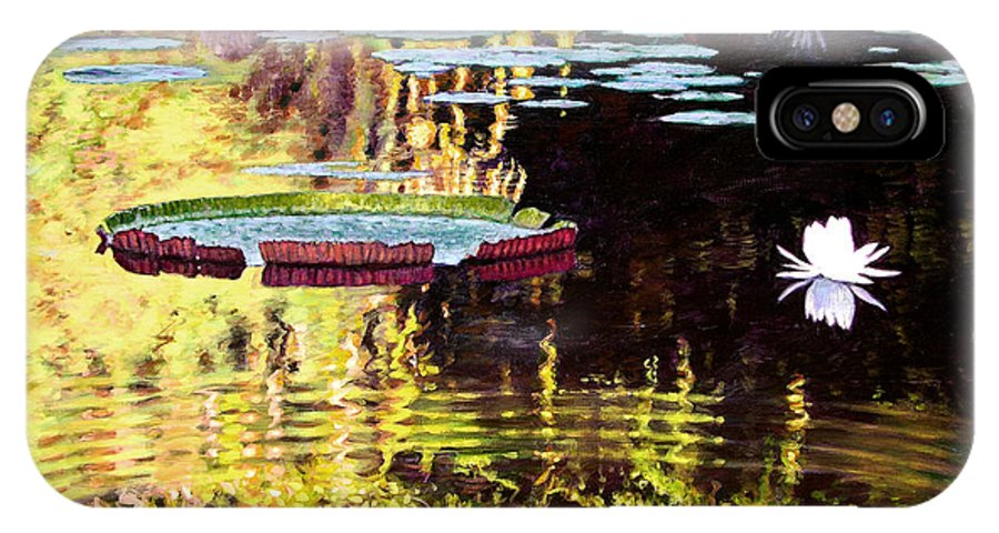 Garden Pond IPhone X Case featuring the painting Ripples On A Quiet Pond by John Lautermilch