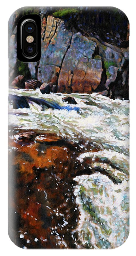 Mountain Stream IPhone X Case featuring the painting Rushing Waters Colorado by John Lautermilch