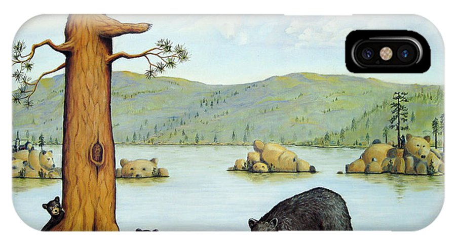 Bears IPhone X Case featuring the painting 27 Bears by Jerome Stumphauzer