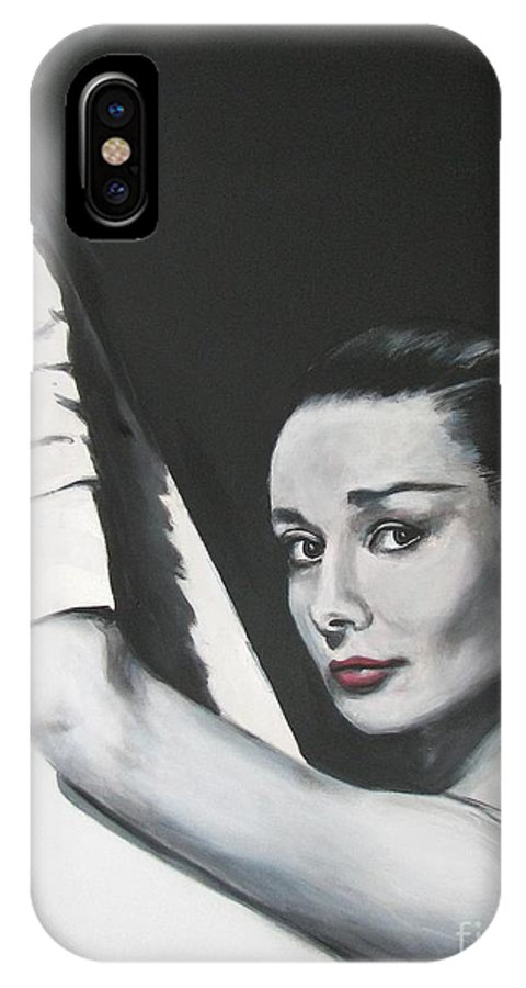 Audrey Hepburn IPhone X Case featuring the painting Audrey Hepburn by Eric Dee