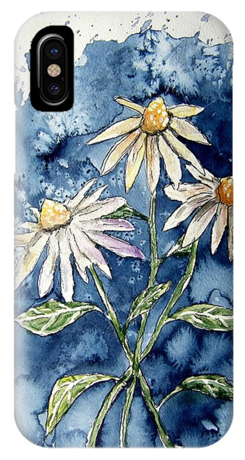 Daisy IPhone X Case featuring the painting 3 Daisies Flower Art by Derek Mccrea