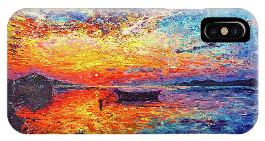 Sunset Landscape Boat Sunrise Seascape IPhone X Case featuring the painting No Title by Ericka Herazo