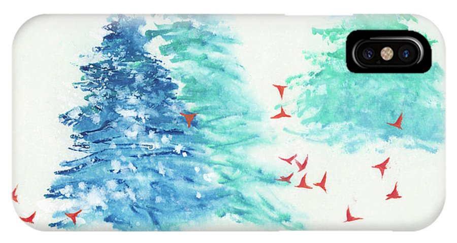 A Flock Of Happy Red Birds Gathers Around A Snowy Wood. It's A Simple Contemporary Chinese Brush Painting On Rice Paper. IPhone X Case featuring the painting A Happy Flock by Mui-Joo Wee