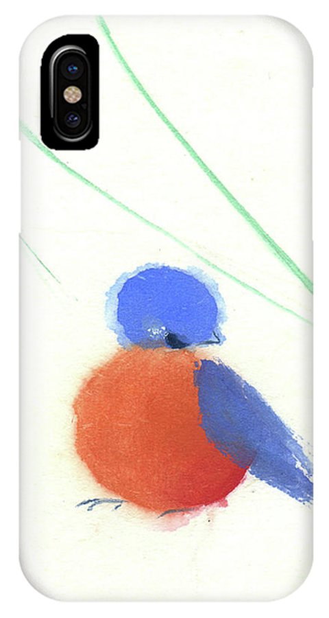 A Happy Little Bluebird Sitting Amid Swishing Leaves. This Is A Contemporary Chinese Ink And Watercolor On Rice Paper Painting. IPhone X Case featuring the painting A Little Bluebird II by Mui-Joo Wee