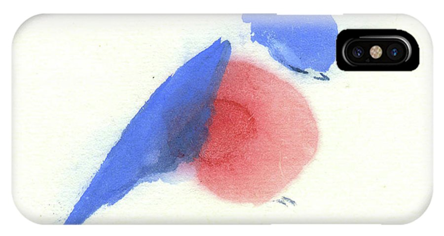 A Tired Little Bluebird Dozing Off. This Is A Contemporary Chinese Ink And Watercolor On Rice Paper Painting. IPhone X Case featuring the painting A Little Bluebird III by Mui-Joo Wee