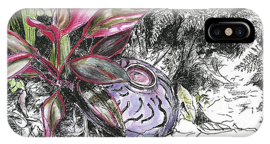 Fine Art IPhone X Case featuring the drawing A Potters Garden - Section 05 by Kerryn Madsen- Pietsch