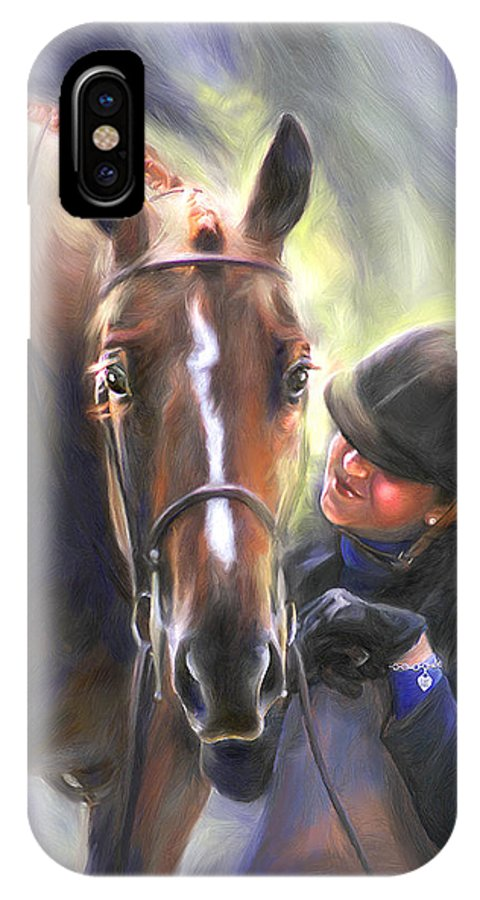 Horse IPhone X Case featuring the painting A Secret Shared Hunter Horse With Girl by Connie Moses