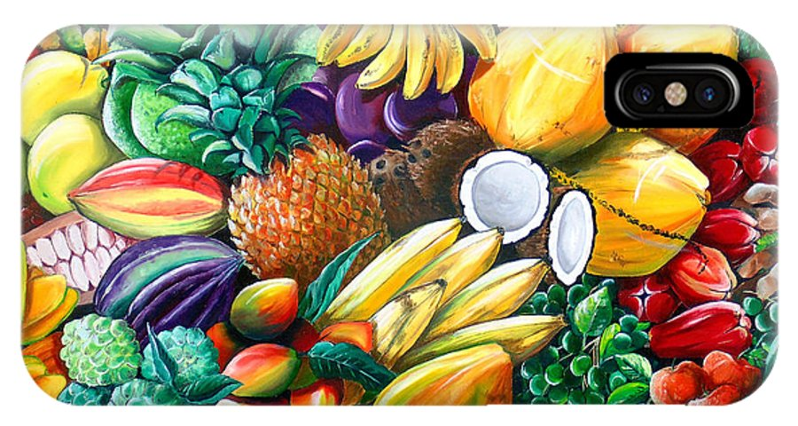 Caribbean Fruit Painting Tropical Fruit Painting Caribbean Pineapple Mangoes Bananas Coconut Watermelon Tropical Fruit Painting IPhone X Case featuring the painting A Taste Of The Islands by Karin Dawn Kelshall- Best