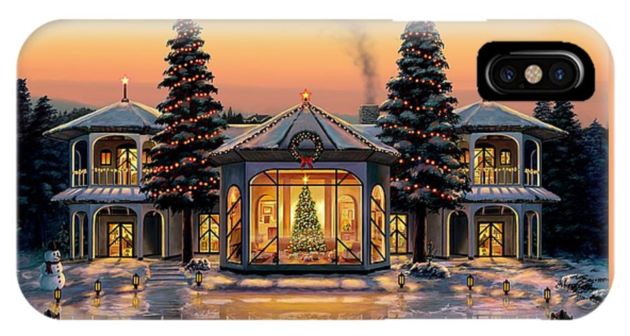 Christmas IPhone X Case featuring the painting A Warm Home For The Holidays by Stu Shepherd