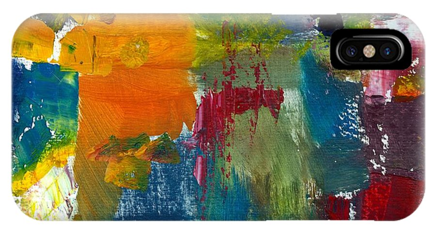Abstract Collage IPhone X Case featuring the painting Abstract Color Relationships ll by Michelle Calkins